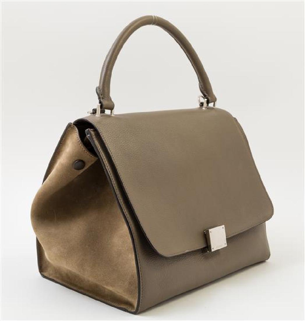 A Celine Taupe Leather and Suede Medium Trapeze - 2
