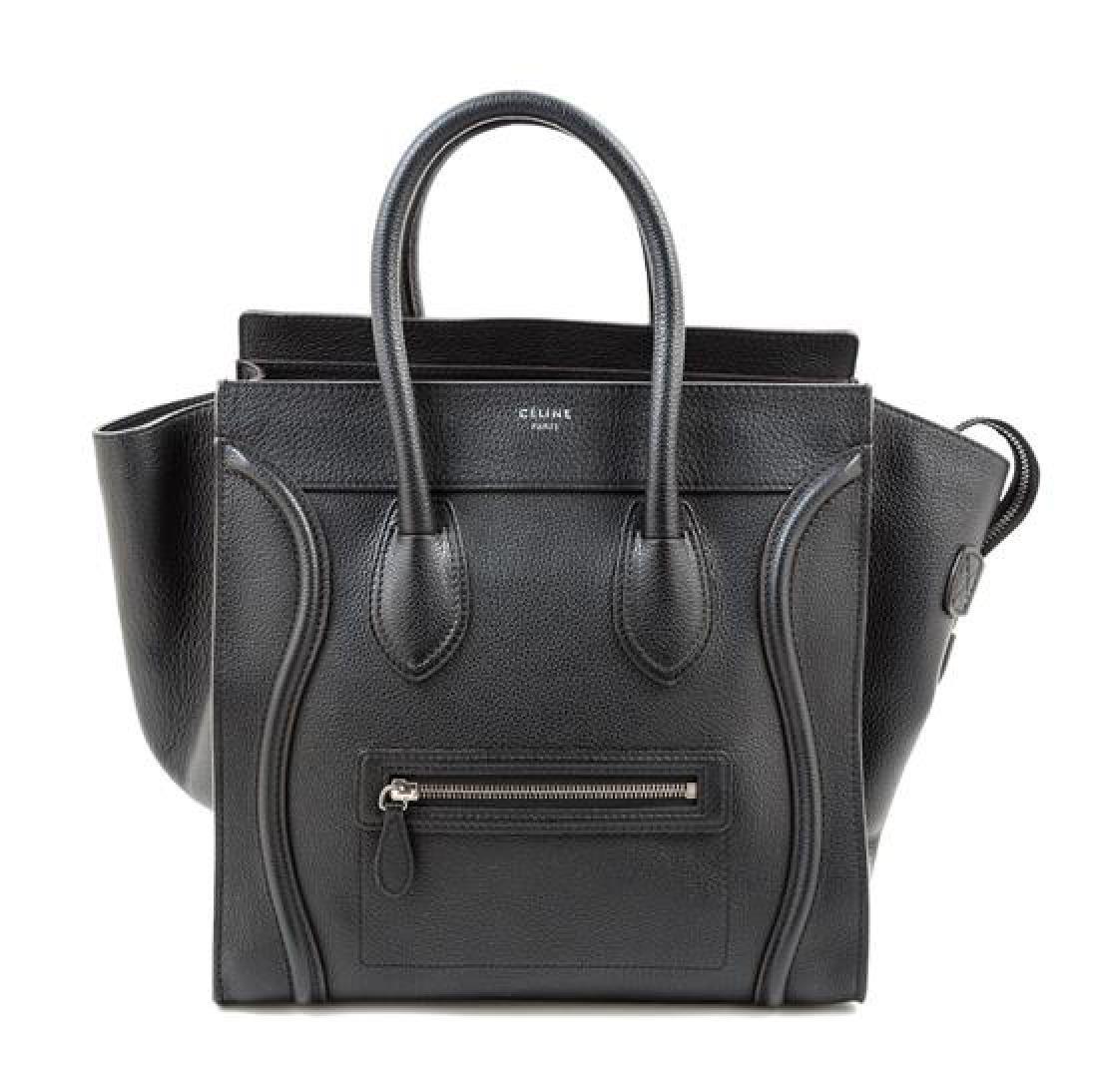 A Celine Black Leather Mirco Luggage Tote,