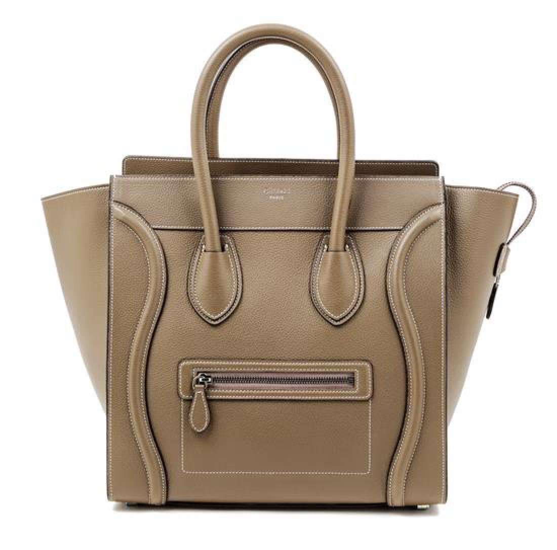 A Celine Taupe Leather Micro Luggage Tote,