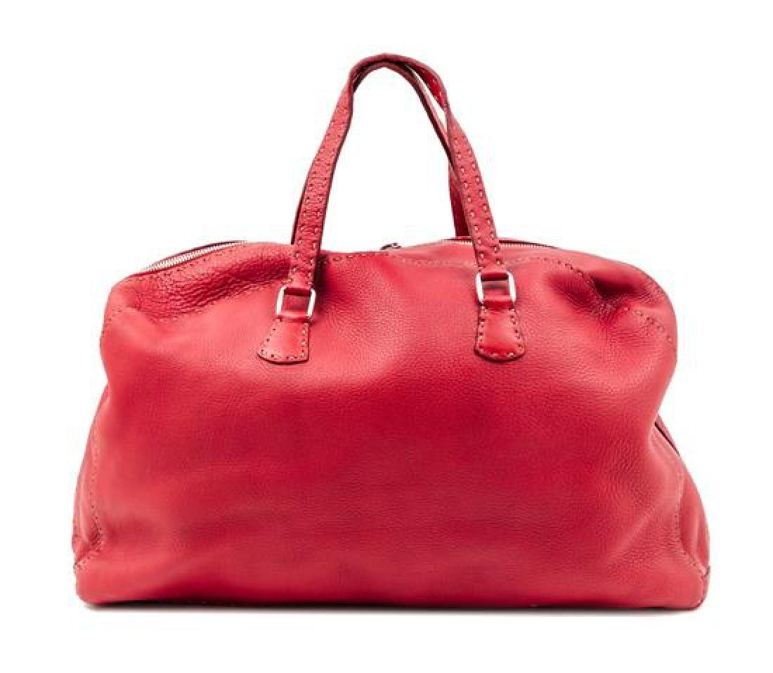 A Fendi Red Leather Selleria Tote Bag,
