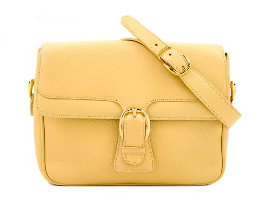 A Gucci Pale Yellow Leather Flap Handbag,
