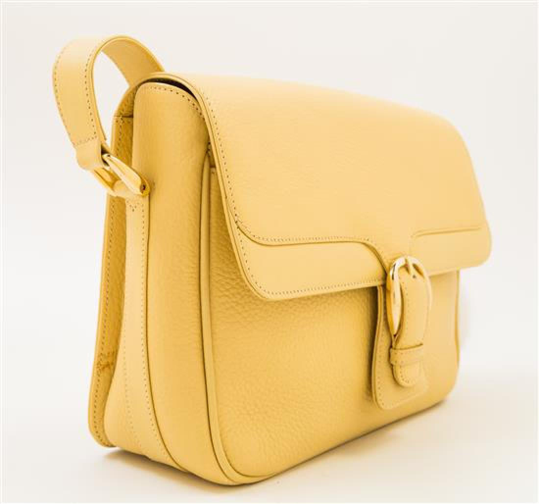 A Gucci Pale Yellow Leather Flap Handbag, - 2