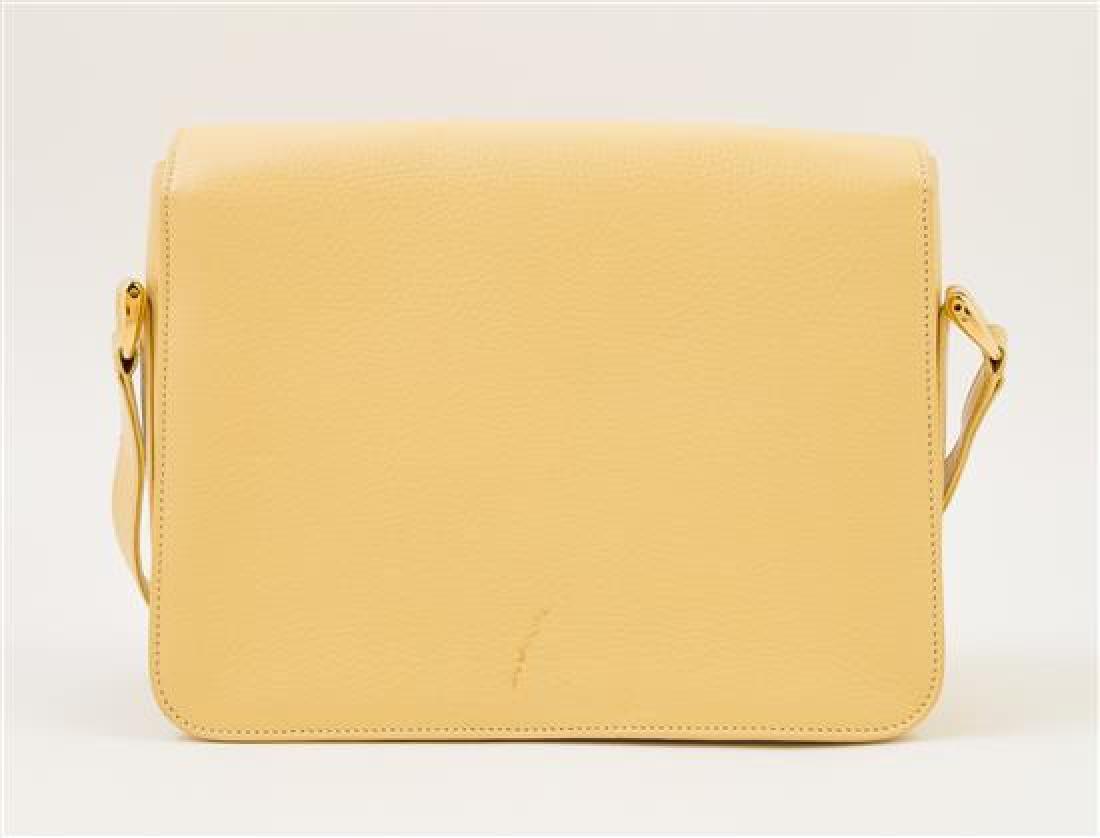 A Gucci Pale Yellow Leather Flap Handbag, - 3