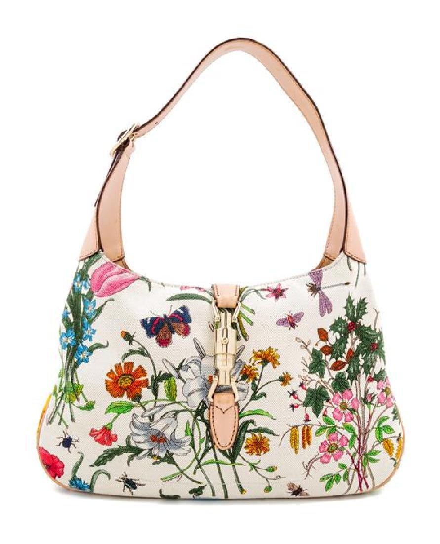 A Gucci Floral Canvas Handbag,