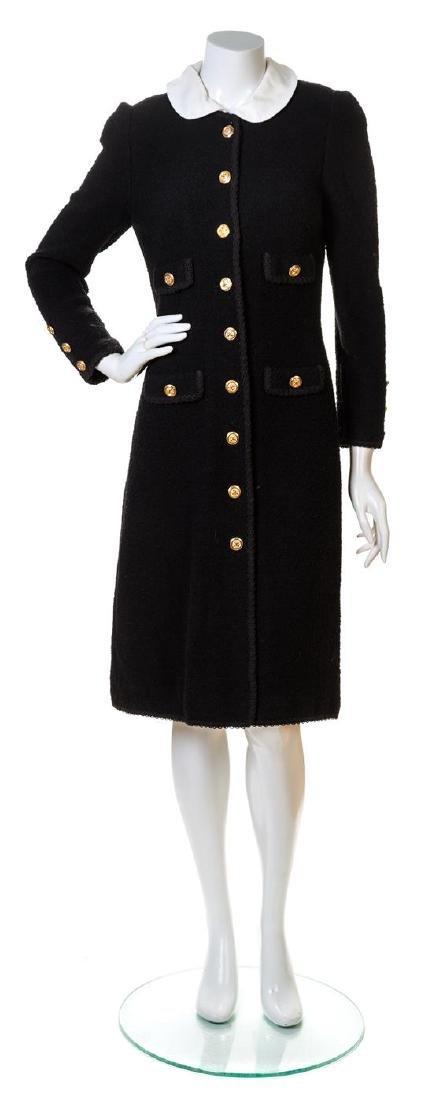 An Adolfo Black Wool Coat,