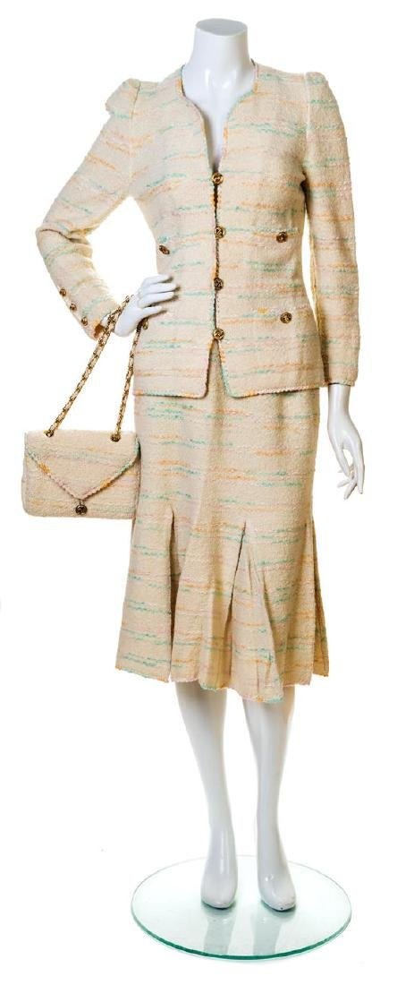 An Adolfo Cream Boucle Skirt Ensemble,