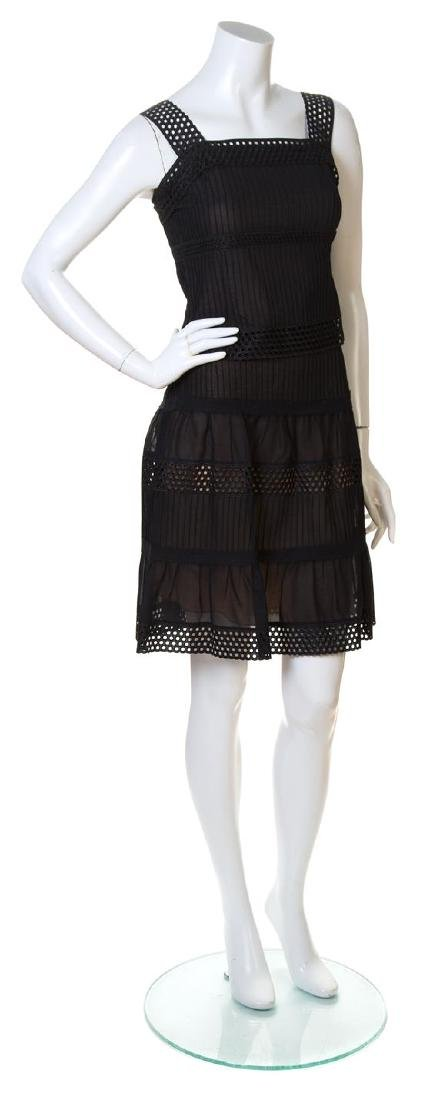 An Akris Punto Black Cotton Pleated Skirt Ensemble,