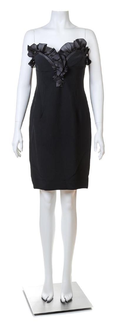An Alberta Ferretti Black Silk Strapless Dress,
