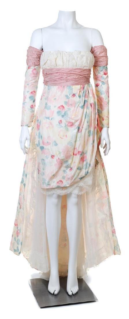 A Bernard Perris Silk Floral Strapless Dress Ensemble,