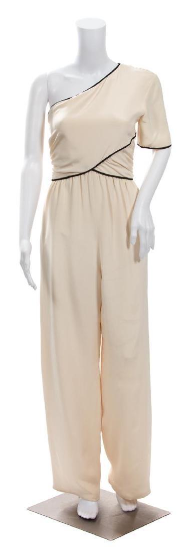 A Bill Blass One Shoulder Cream Silk Jumpsuit,