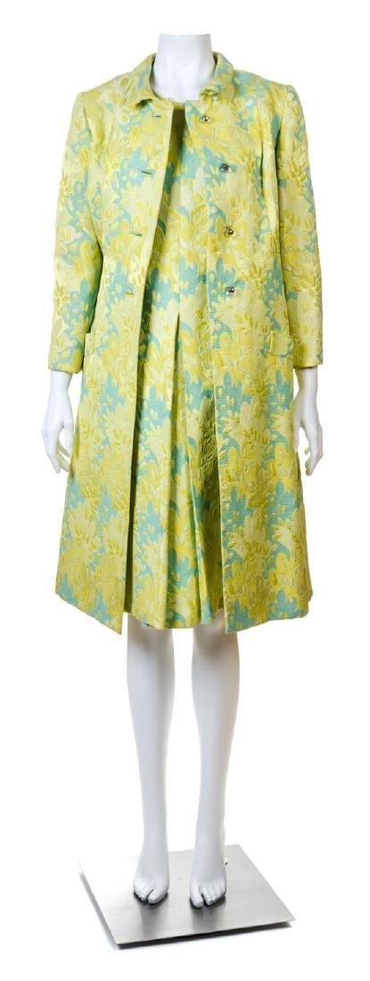A Blum's-Vogue Yellow Floral Dress and Coat Ensemble,