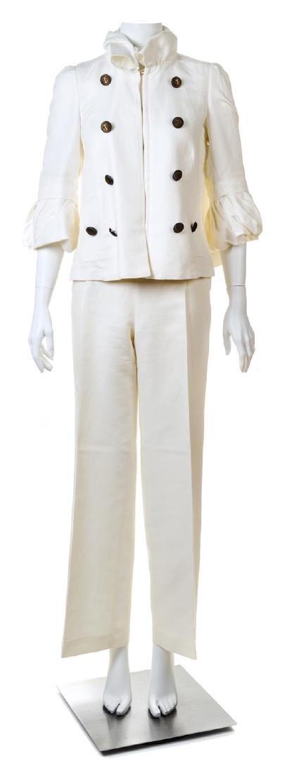 A Carolina Herrera Cream Linen Pant Suit,