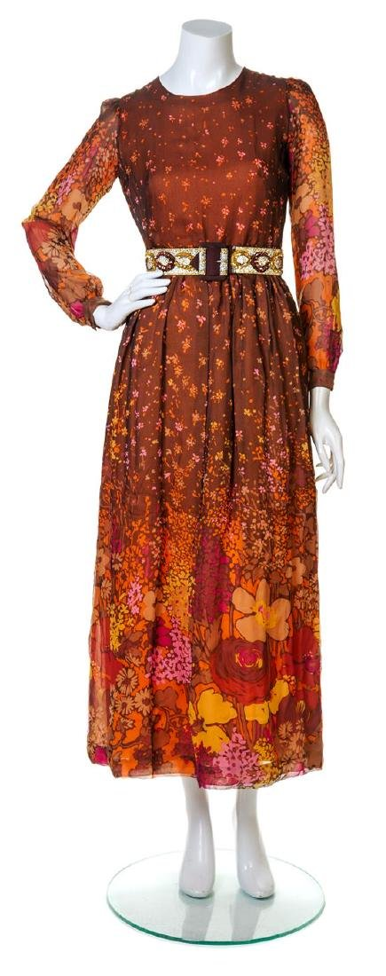 A Carven Brown and Orange Silk Floral Gown,