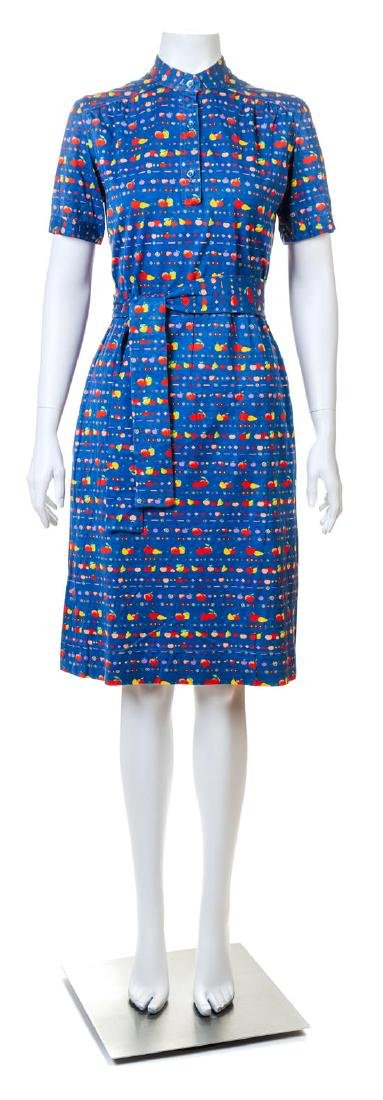 A Celine Blue Cotton Fruit Print Dress,