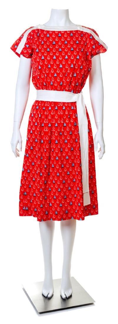 A Celine Red Cotton Sailboat Dress,