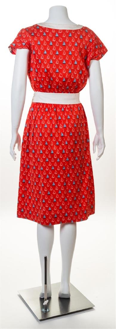 A Celine Red Cotton Sailboat Dress, - 2