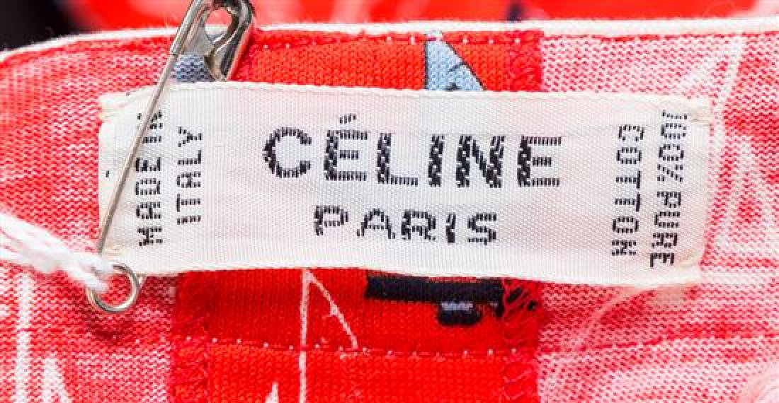 A Celine Red Cotton Sailboat Dress, - 3