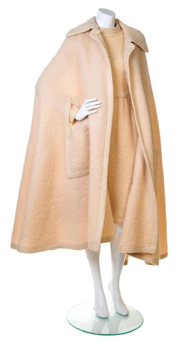 A Christian Dior Cream Wool Dress and Cape Ensemble,