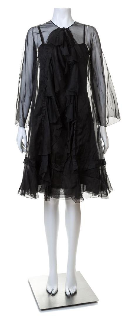 A Christian Dior 1966 Haute Couture Black Silk Dress,