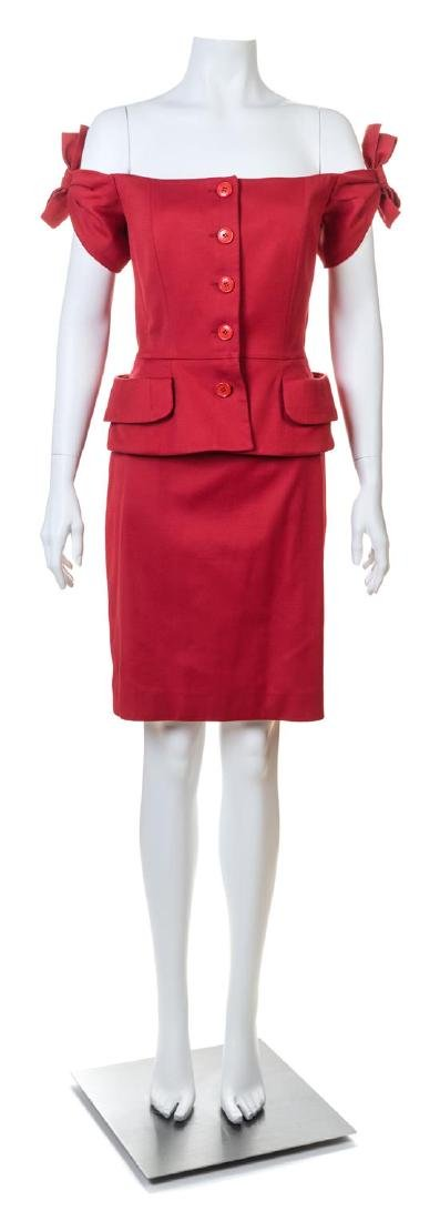 A Christian Dior Red Skirt Suit,