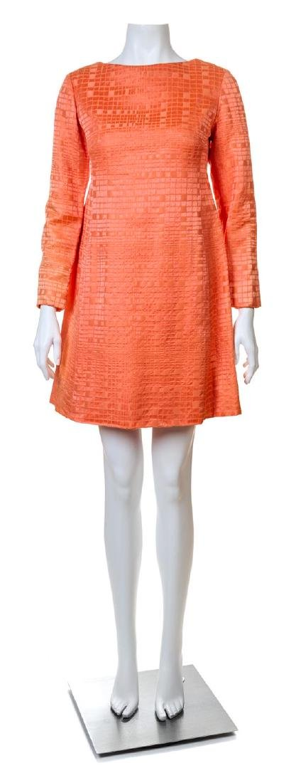 A Christian Dior Tangerine Silk Embossed Cocktail