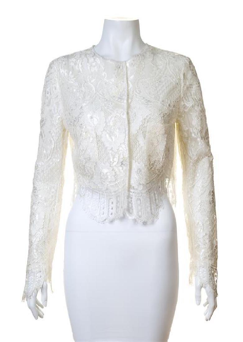 A Dolce & Gabbana Cream Lace Crop Jacket,
