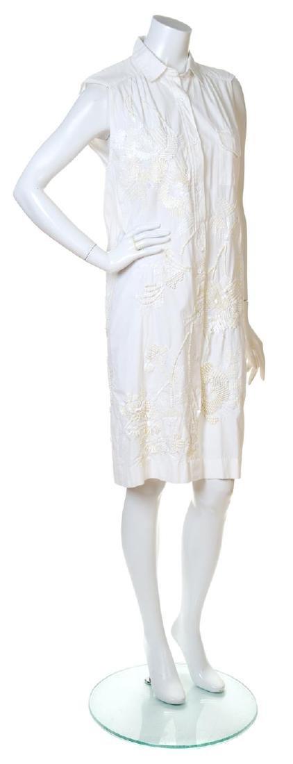 A Dries Van Noten White Cotton Sleeveless Dress,