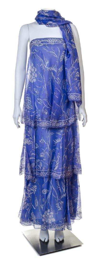 An Emilio Pucci Purple Print Silk Strapless Gown,