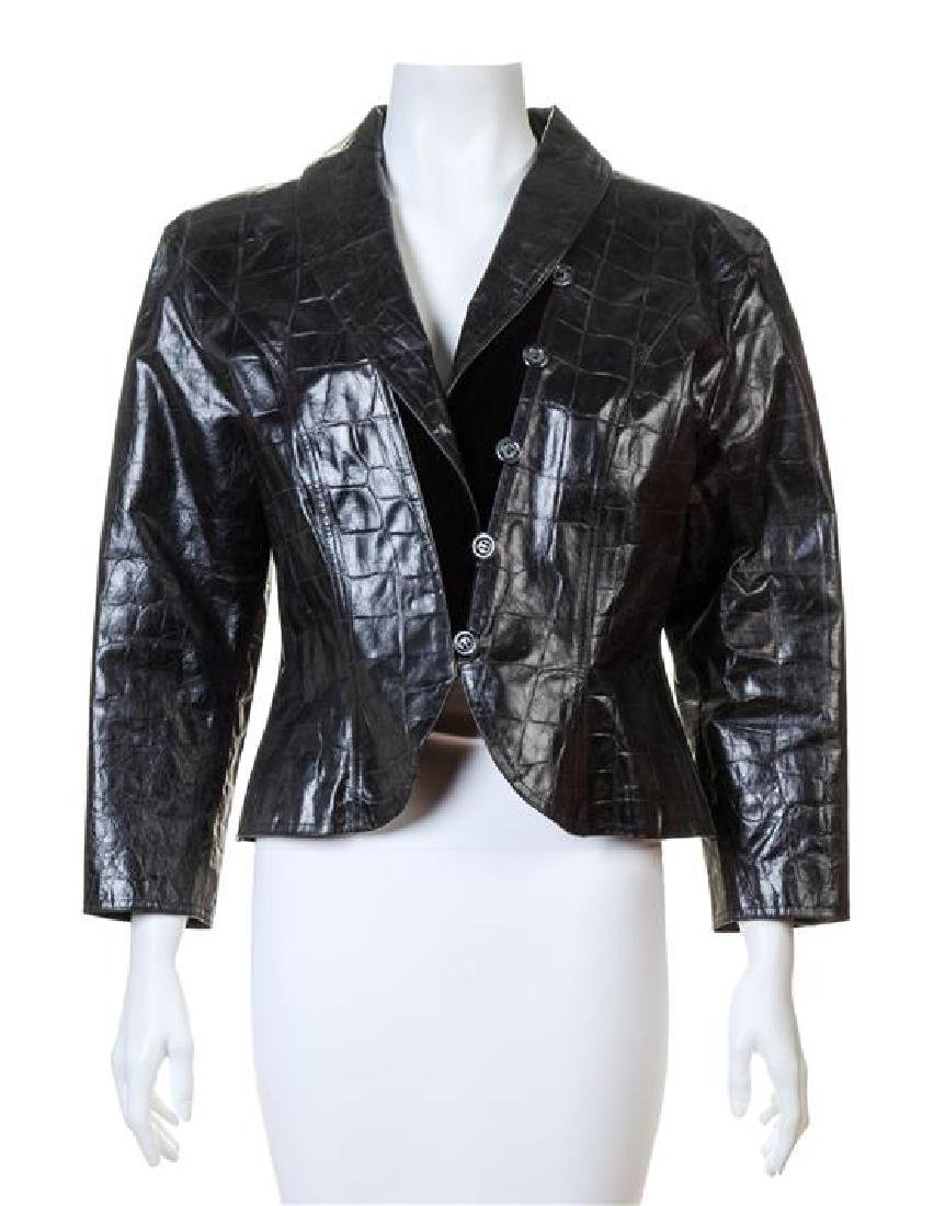 An Emanuel Ungaro Black Leather Embossed Jacket,