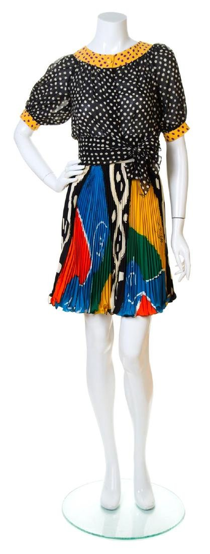 An Emanuel Ungaro Multicolor Silk Blouse and Skirt