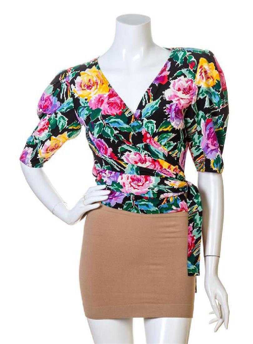 A Pair of Emanuel Ungaro Silk Floral Wrap Blouses,