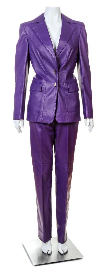 An Escada Purple Leather Pant Suit,