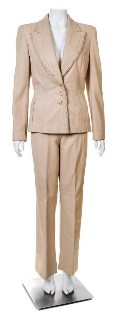 An Escada Cream Leather Pant Suit,