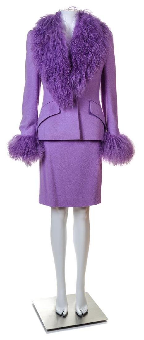 An Escada Lavender Wool Jacket and Skirt Ensemble,