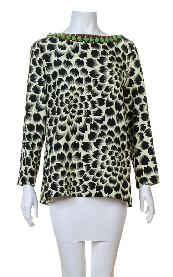An Etro Green and Black Silk Print Blouse,