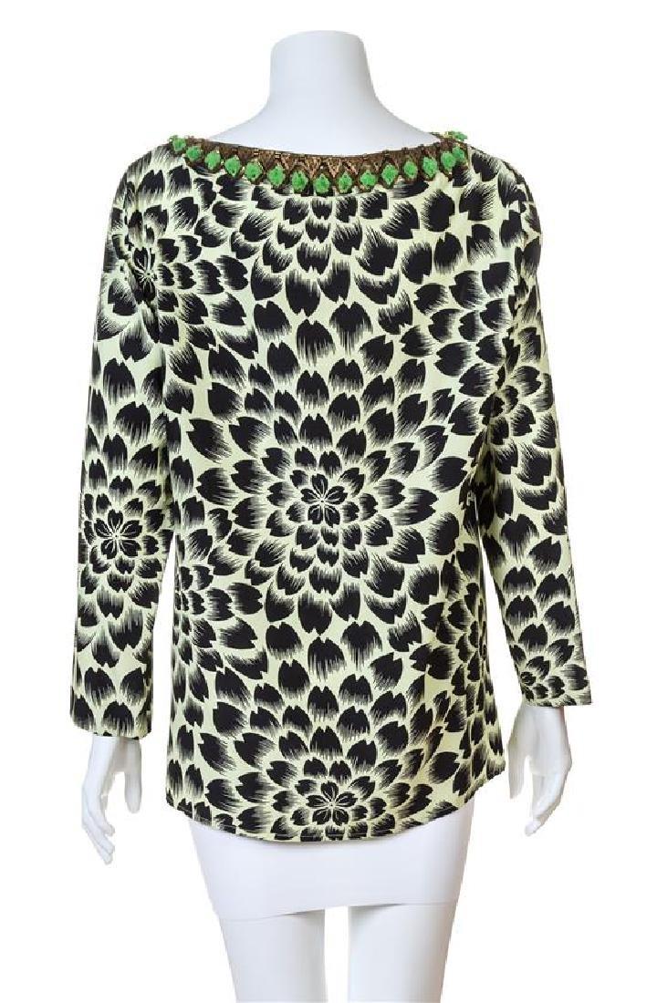 An Etro Green and Black Silk Print Blouse, - 2