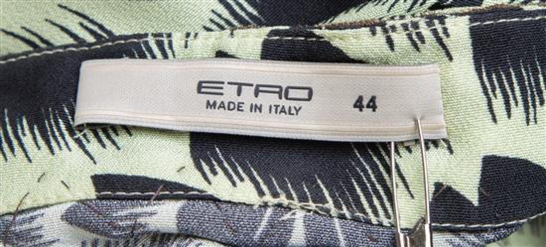 An Etro Green and Black Silk Print Blouse, - 3