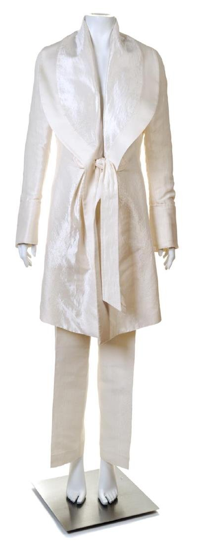 A Salvatore Ferragamo Cream Coat and Pant Ensemble,