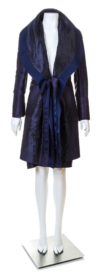 A Salvatore Ferragamo Navy Coat and Skirt Ensemble,