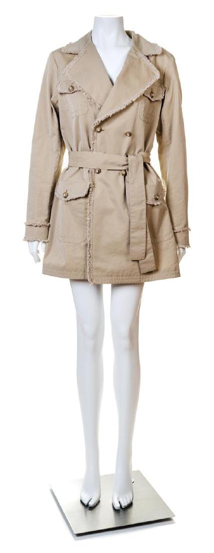 A Chanel Khaki Cotton Double Breasted Trench Coat,