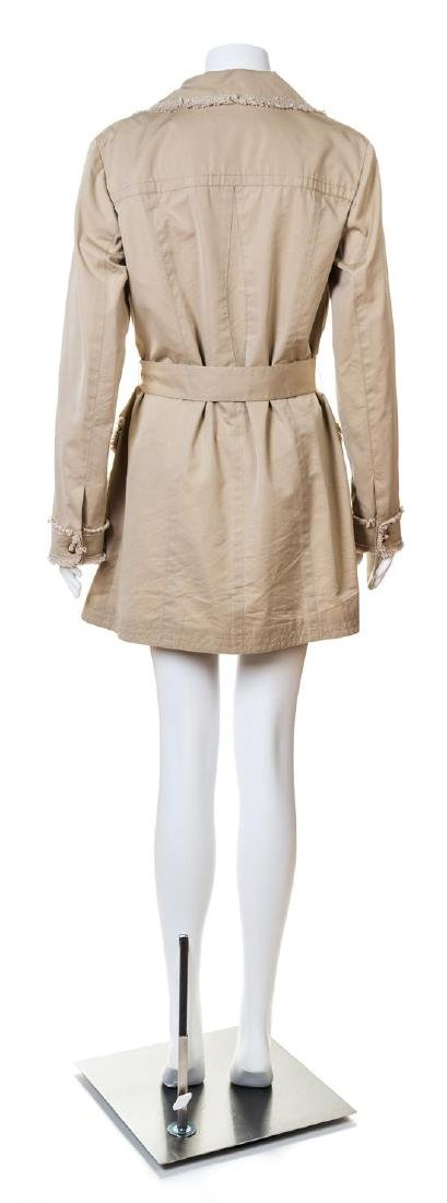 A Chanel Khaki Cotton Double Breasted Trench Coat, - 2