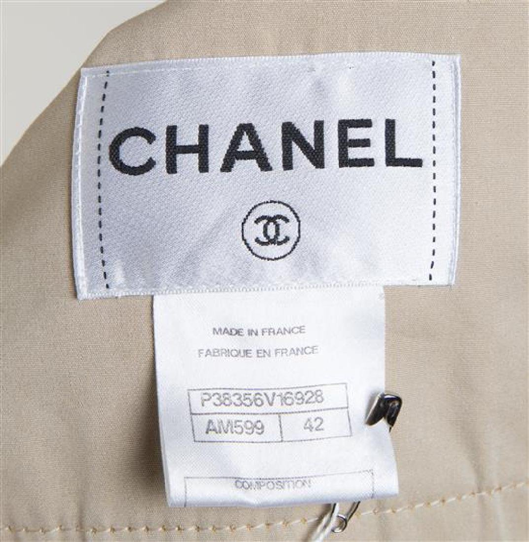 A Chanel Khaki Cotton Double Breasted Trench Coat, - 3
