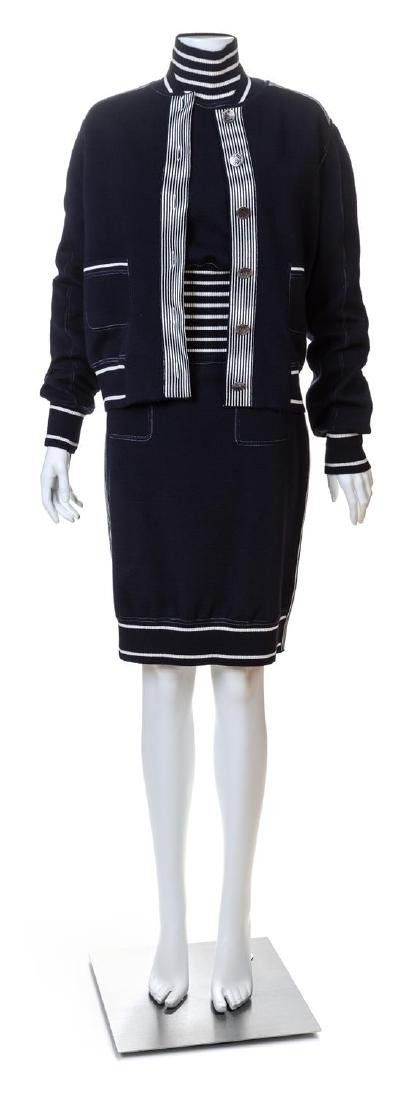 A Chanel Navy Three Piece Jacket and Skirt Ensemble,
