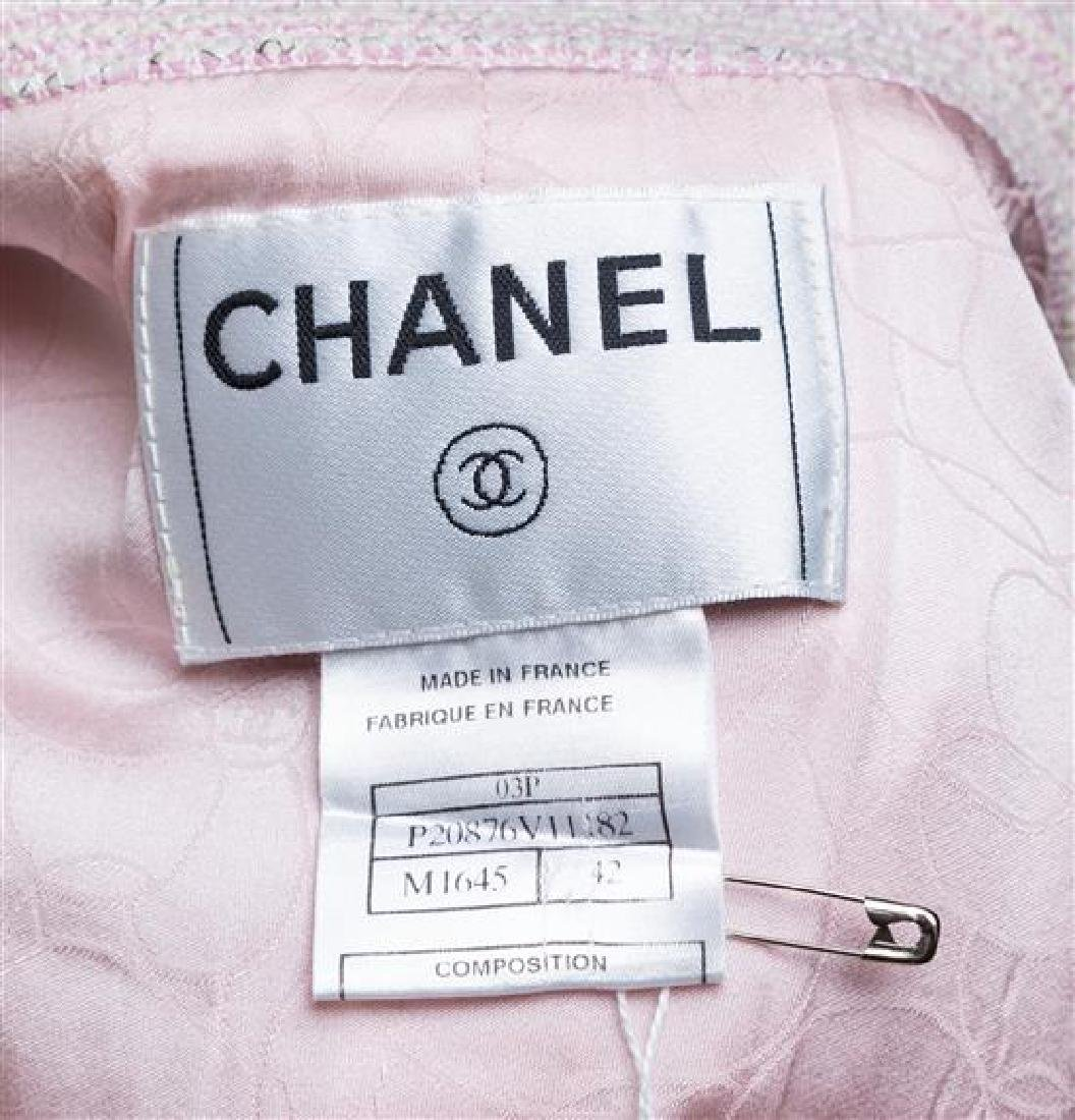 A Chanel Pink and White Tweed Jacket, - 3
