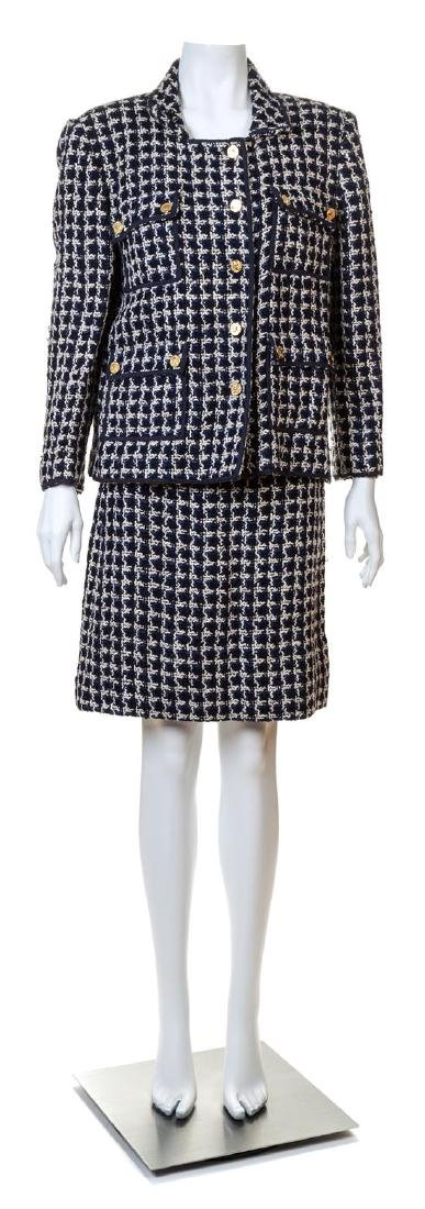 A Chanel Navy and White Boucle Skirt Ensemble,