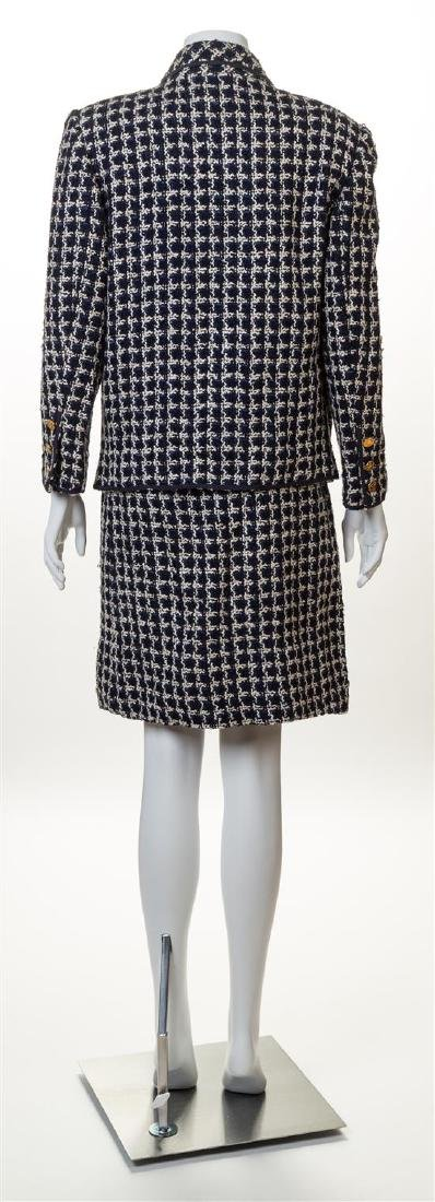 A Chanel Navy and White Boucle Skirt Ensemble, - 2