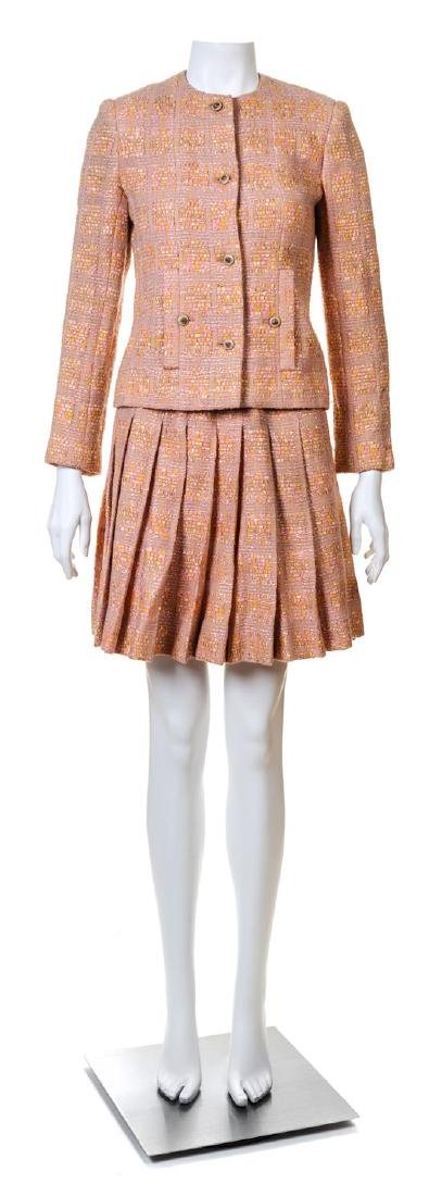 A Chanel Creations Dusty Rose Wool Skirt Ensemble,