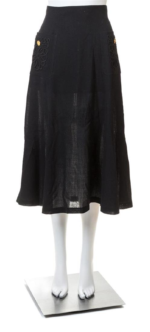 A Chanel Black Wool A-line Skirt,