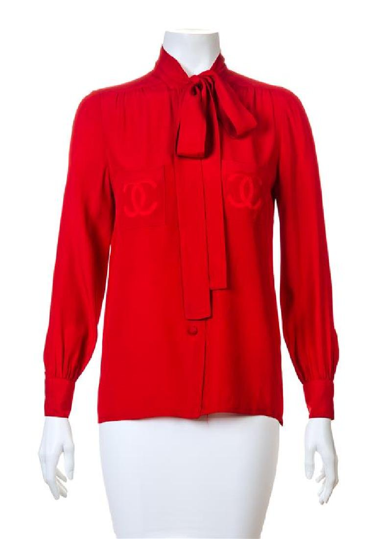 A Chanel Red Silk Blouse,