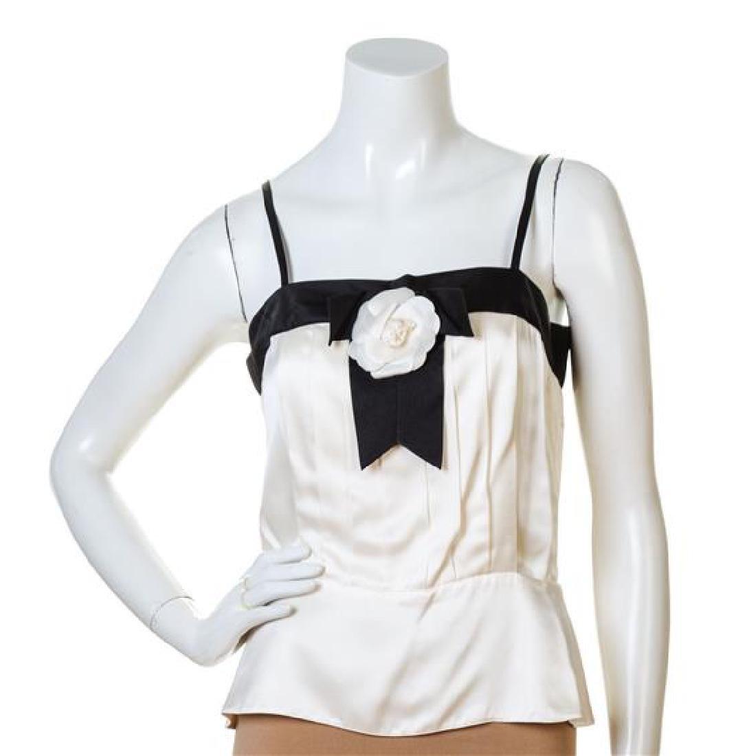 A Chanel Cream and Black Silk Camisole,